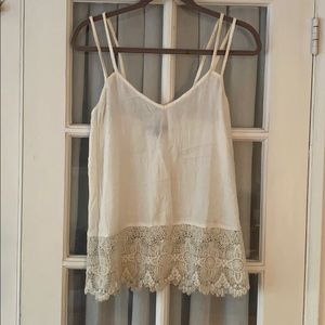Boho white tank top with lace